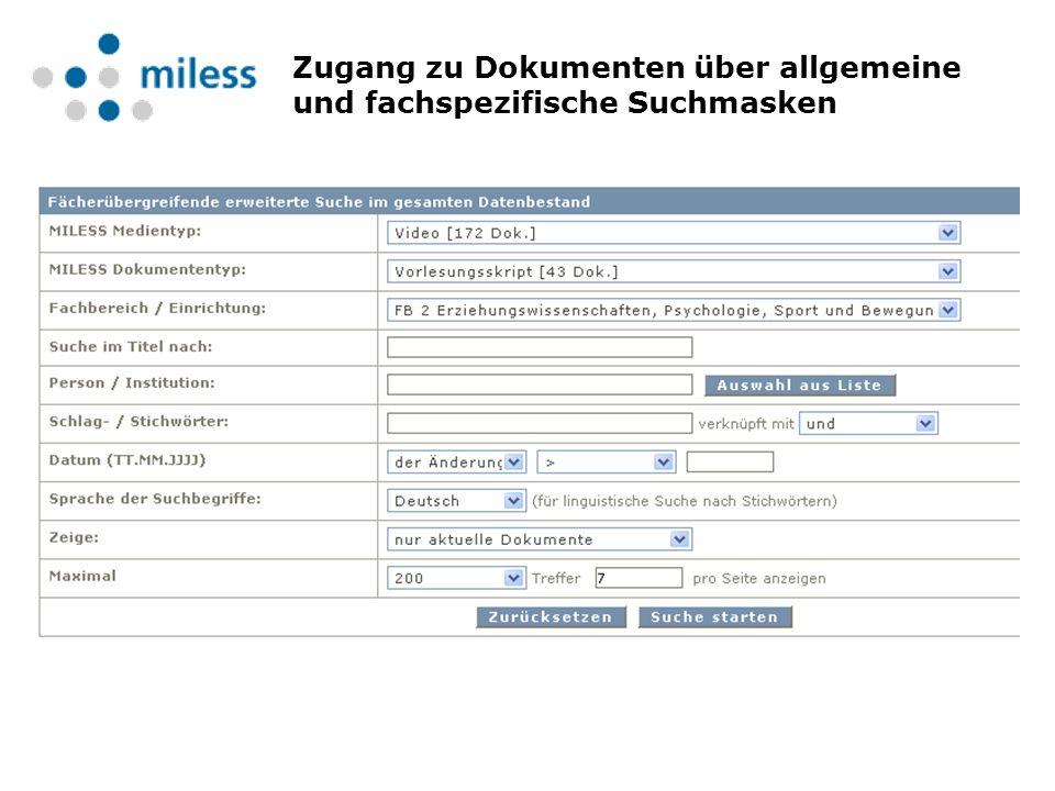 Zugang zu Dokumenten über allgemeine und fachspezifische Suchmasken