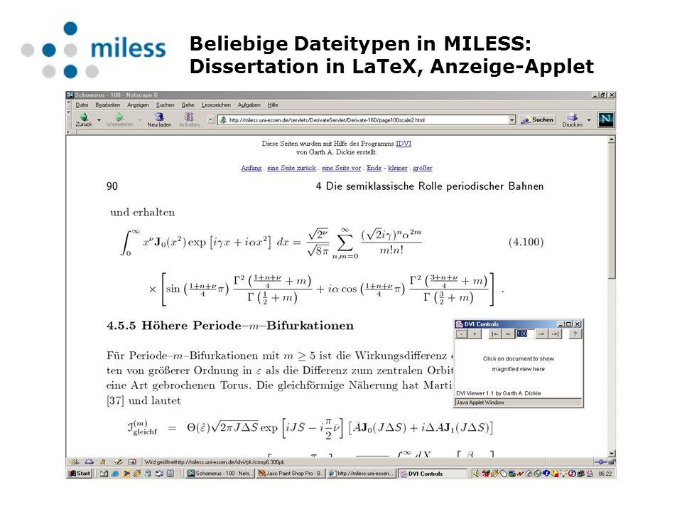 Beliebige Dateitypen in MILESS: Dissertation in LaTeX, Anzeige-Applet