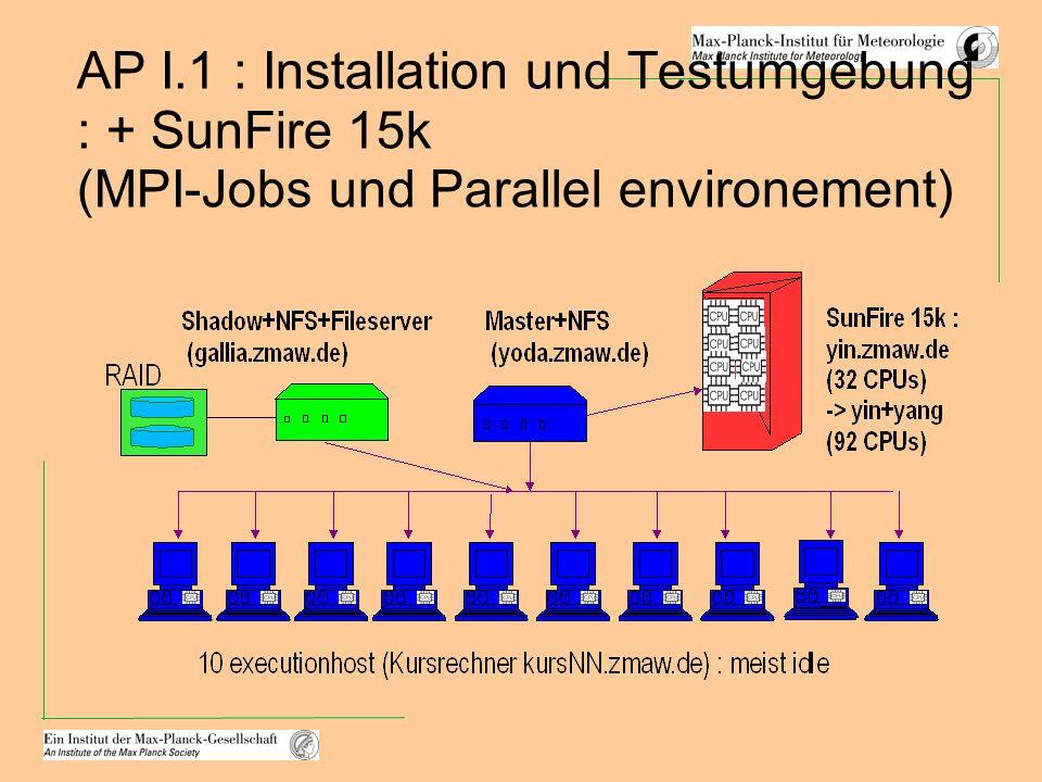 AP I.1 : Installation und Testumgebung : + SunFire 15k (MPI-Jobs und Parallel environement)
