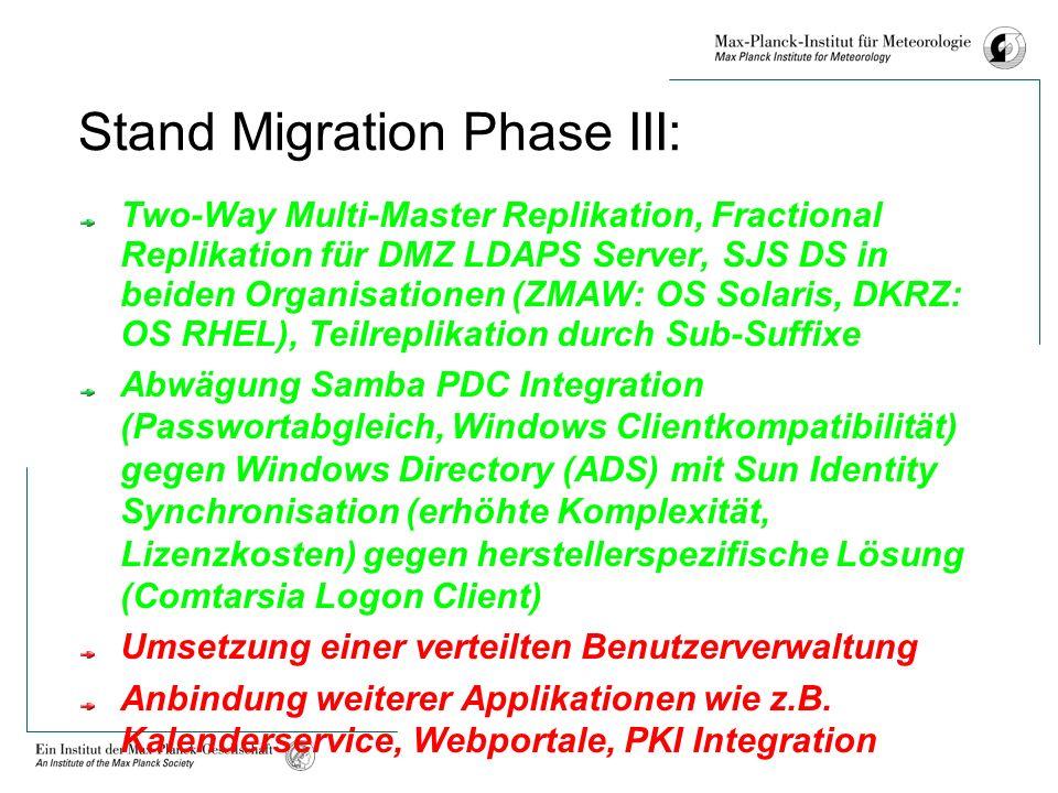 Stand Migration Phase III: Two-Way Multi-Master Replikation, Fractional Replikation für DMZ LDAPS Server, SJS DS in beiden Organisationen (ZMAW: OS Solaris, DKRZ: OS RHEL), Teilreplikation durch Sub-Suffixe Abwägung Samba PDC Integration (Passwortabgleich, Windows Clientkompatibilität) gegen Windows Directory (ADS) mit Sun Identity Synchronisation (erhöhte Komplexität, Lizenzkosten) gegen herstellerspezifische Lösung (Comtarsia Logon Client) Umsetzung einer verteilten Benutzerverwaltung Anbindung weiterer Applikationen wie z.B.