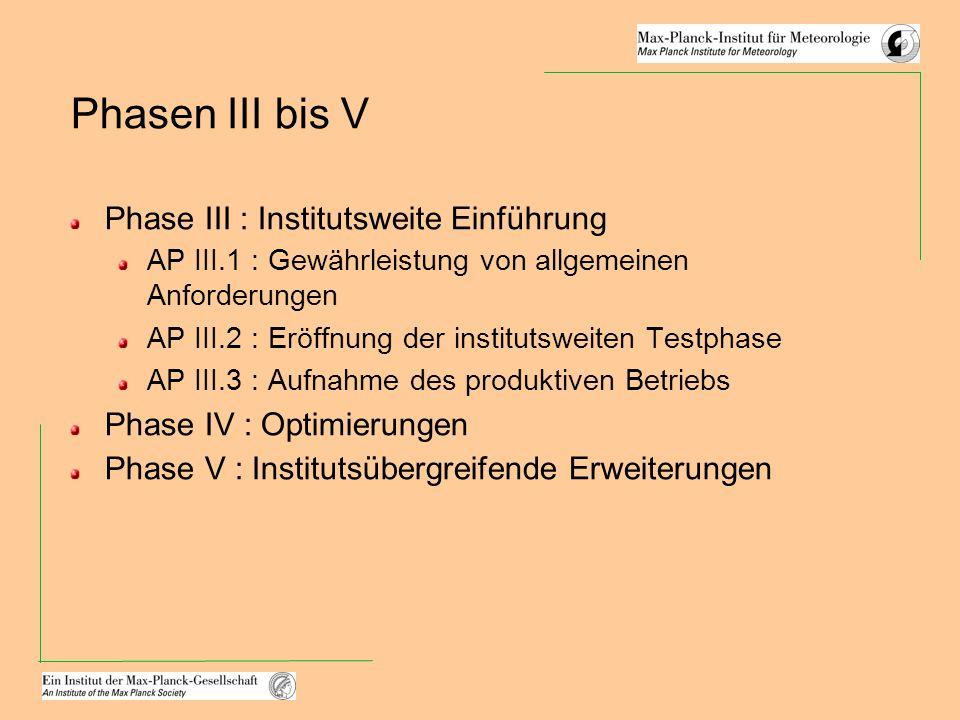 Phasen III bis V Phase III : Institutsweite Einführung AP III.1 : Gewährleistung von allgemeinen Anforderungen AP III.2 : Eröffnung der institutsweiten Testphase AP III.3 : Aufnahme des produktiven Betriebs Phase IV : Optimierungen Phase V : Institutsübergreifende Erweiterungen