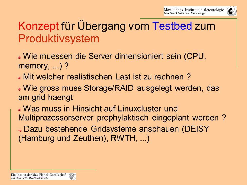 Konzept für Übergang vom Testbed zum Produktivsystem Wie muessen die Server dimensioniert sein (CPU, memory,...) ? Mit welcher realistischen Last ist