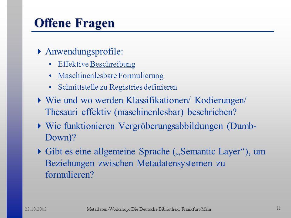 Metadaten-Workshop, Die Deutsche Bibliothek, Frankfurt/Main 22.10.2002 12 Ausblick Das Programm liest die Metadaten zu einem Dokument.