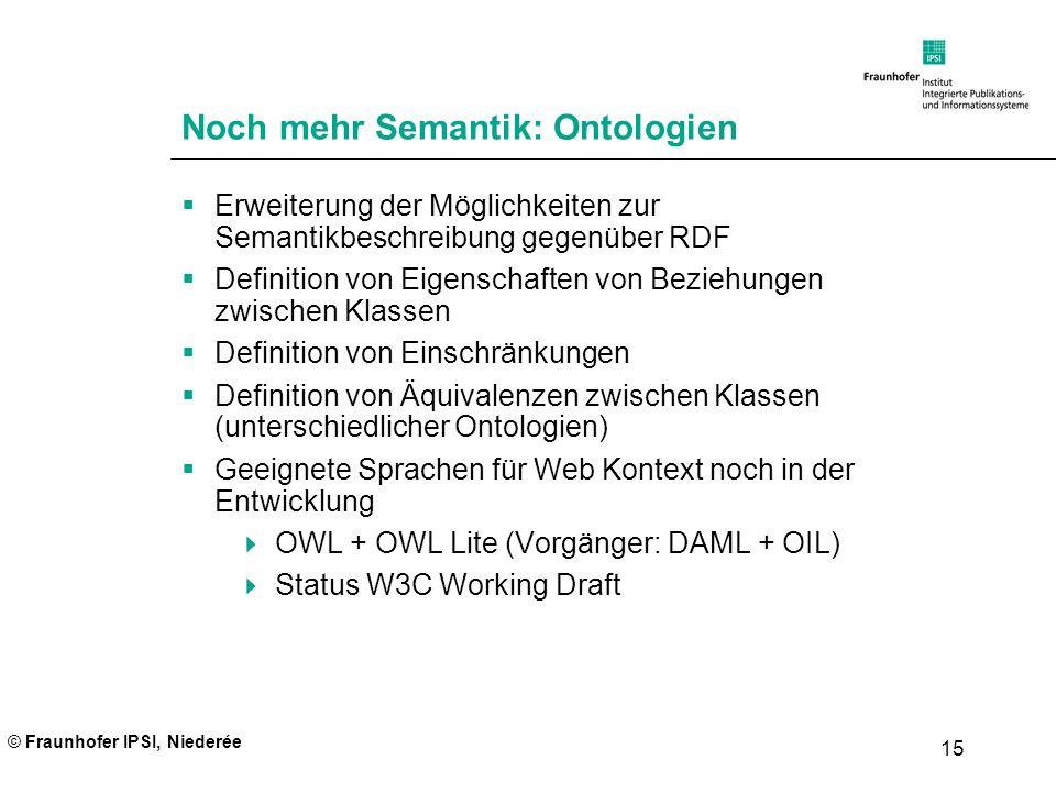 © Fraunhofer IPSI, Niederée 15 Noch mehr Semantik: Ontologien Erweiterung der Möglichkeiten zur Semantikbeschreibung gegenüber RDF Definition von Eige