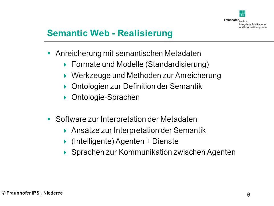 © Fraunhofer IPSI, Niederée 6 Semantic Web - Realisierung Anreicherung mit semantischen Metadaten Formate und Modelle (Standardisierung) Werkzeuge und