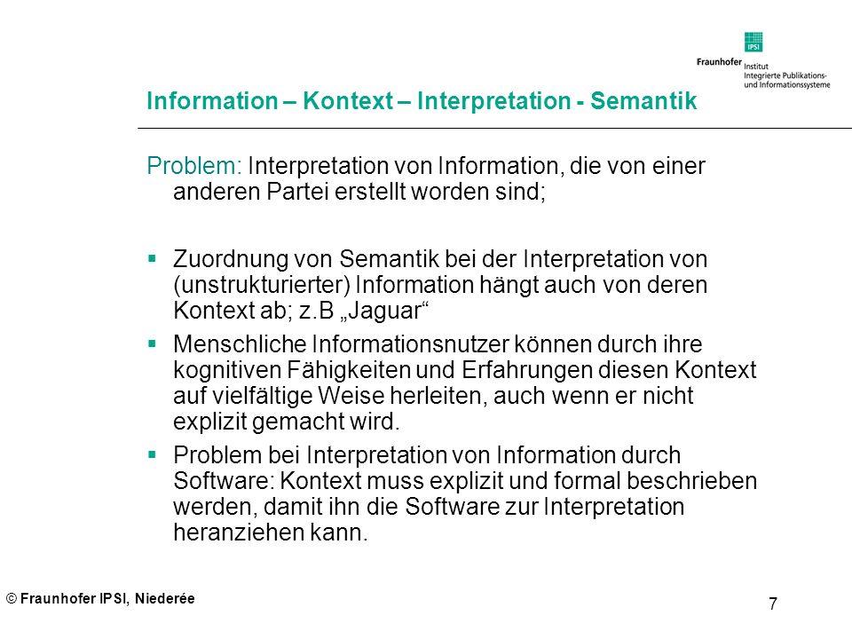 © Fraunhofer IPSI, Niederée 7 Information – Kontext – Interpretation - Semantik Problem: Interpretation von Information, die von einer anderen Partei