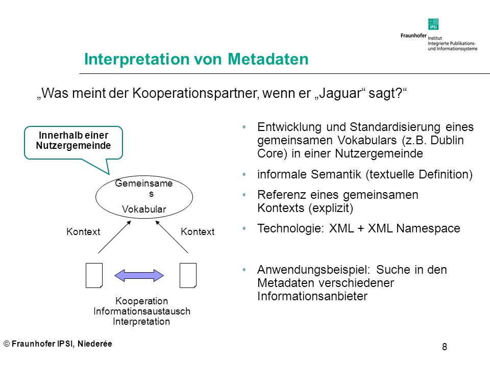 © Fraunhofer IPSI, Niederée 19 Weiterführende Information Zum Einlesen ins Thema Tim Berners-Lee, James Hendler, Ora Lassila, The Semantic Web, Scientific American, May 2001 (im Web verfügbar) Renato Iannella, An Idiot s Guide to the Resource Description Framework, The New Review of Information Networking, Vol 4, 1998 http://www.dstc.edu.au/Research/Projects/rdf/RDF-Idiot.html Einführungen und Spezifikationen zu RDF, RDF Schema, XML, XML Namespace, OWL, etc.