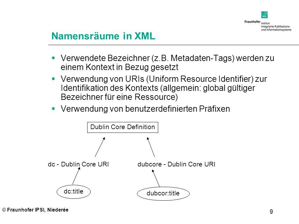 © Fraunhofer IPSI, Niederée 9 Namensräume in XML Verwendete Bezeichner (z.B. Metadaten-Tags) werden zu einem Kontext in Bezug gesetzt Verwendung von U