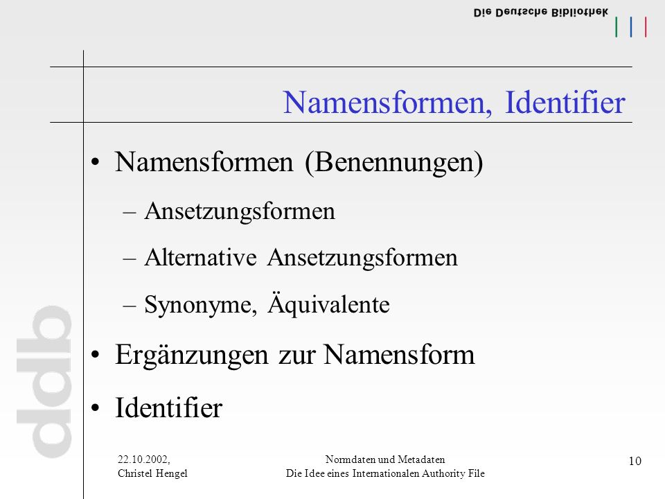 , Christel Hengel Normdaten und Metadaten Die Idee eines Internationalen Authority File 10 Namensformen, Identifier Namensformen (Benennungen) –Ansetzungsformen –Alternative Ansetzungsformen –Synonyme, Äquivalente Ergänzungen zur Namensform Identifier