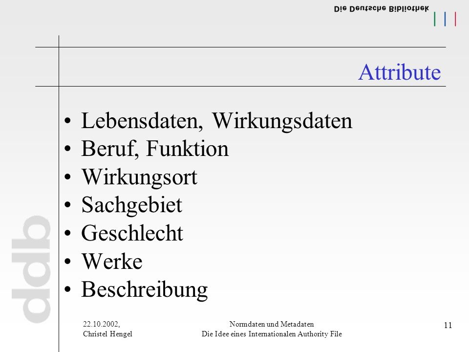 , Christel Hengel Normdaten und Metadaten Die Idee eines Internationalen Authority File 11 Attribute Lebensdaten, Wirkungsdaten Beruf, Funktion Wirkungsort Sachgebiet Geschlecht Werke Beschreibung