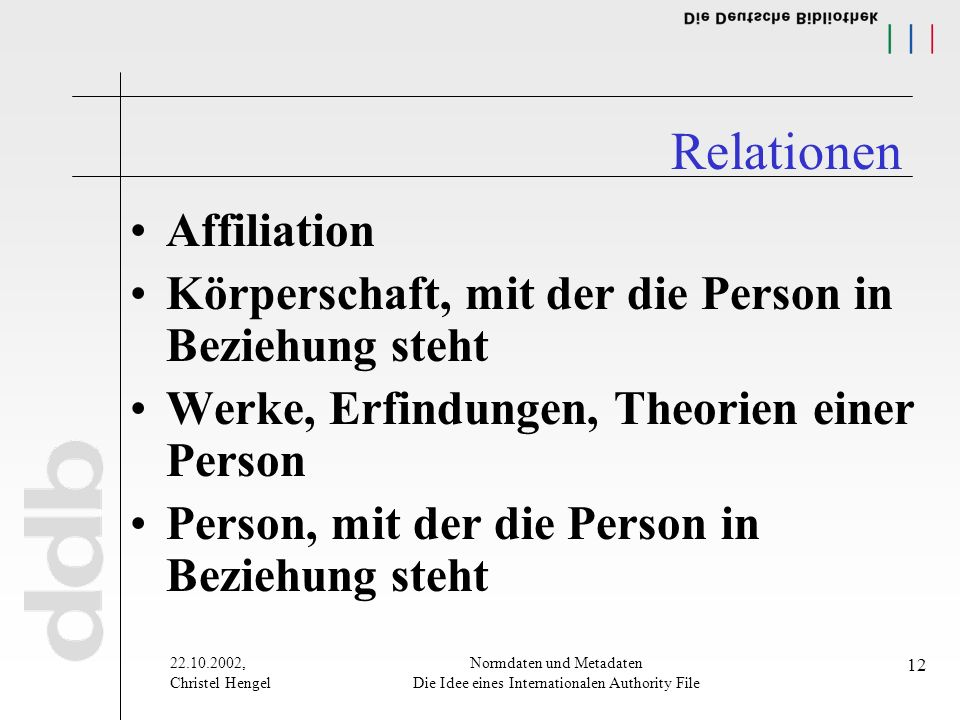 22.10.2002, Christel Hengel Normdaten und Metadaten Die Idee eines Internationalen Authority File 12 Relationen Affiliation Körperschaft, mit der die Person in Beziehung steht Werke, Erfindungen, Theorien einer Person Person, mit der die Person in Beziehung steht
