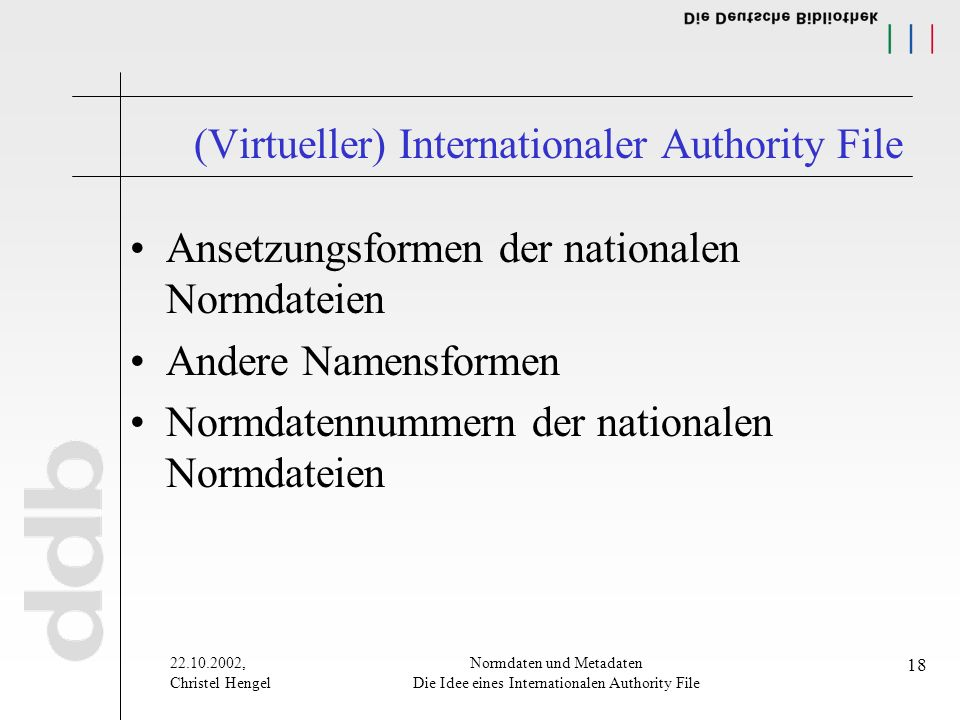 22.10.2002, Christel Hengel Normdaten und Metadaten Die Idee eines Internationalen Authority File 18 (Virtueller) Internationaler Authority File Ansetzungsformen der nationalen Normdateien Andere Namensformen Normdatennummern der nationalen Normdateien