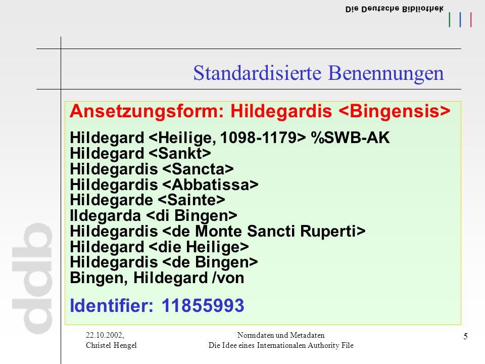 22.10.2002, Christel Hengel Normdaten und Metadaten Die Idee eines Internationalen Authority File 5 Ansetzungsform: Hildegardis Hildegard %SWB-AK Hild