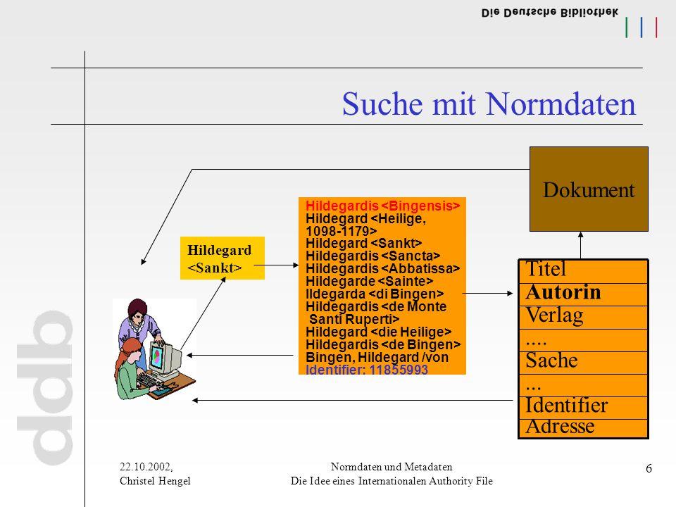 22.10.2002, Christel Hengel Normdaten und Metadaten Die Idee eines Internationalen Authority File 6 Suche mit Normdaten Hildegard Hildegardis Hildegar