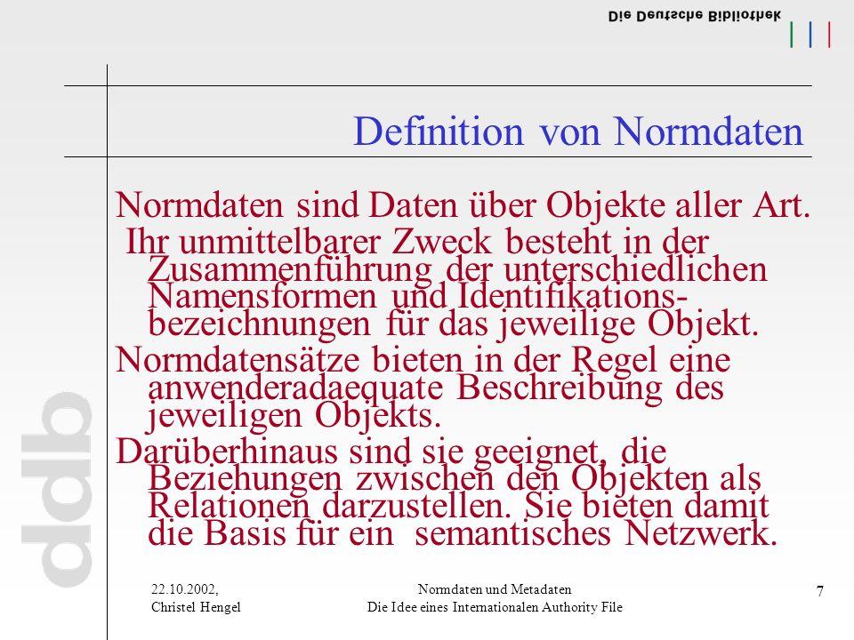 22.10.2002, Christel Hengel Normdaten und Metadaten Die Idee eines Internationalen Authority File 7 Definition von Normdaten Normdaten sind Daten über Objekte aller Art.