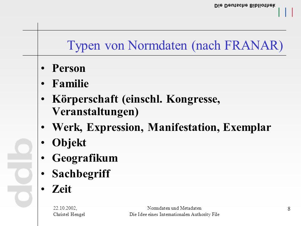22.10.2002, Christel Hengel Normdaten und Metadaten Die Idee eines Internationalen Authority File 8 Typen von Normdaten (nach FRANAR) Person Familie Körperschaft (einschl.
