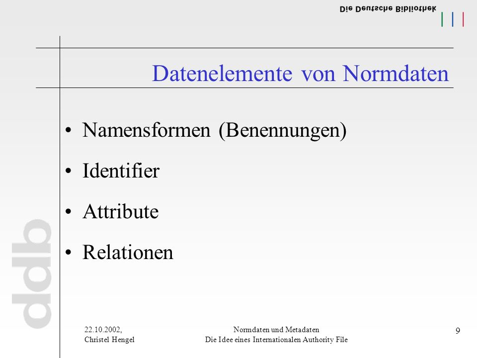 22.10.2002, Christel Hengel Normdaten und Metadaten Die Idee eines Internationalen Authority File 9 Datenelemente von Normdaten Namensformen (Benennungen) Identifier Attribute Relationen