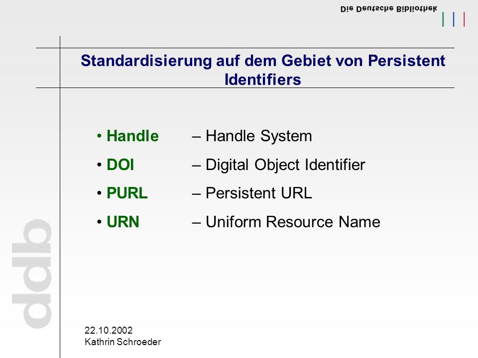 22.10.2002 Kathrin Schroeder Standardisierung auf dem Gebiet von Persistent Identifiers Handle– Handle System DOI– Digital Object Identifier PURL– Persistent URL URN– Uniform Resource Name