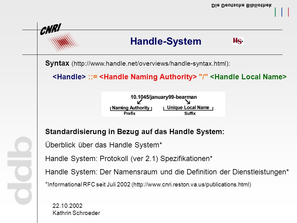 22.10.2002 Kathrin Schroeder Handle-System Syntax (http://www.handle.net/overviews/handle-syntax.html): ::=