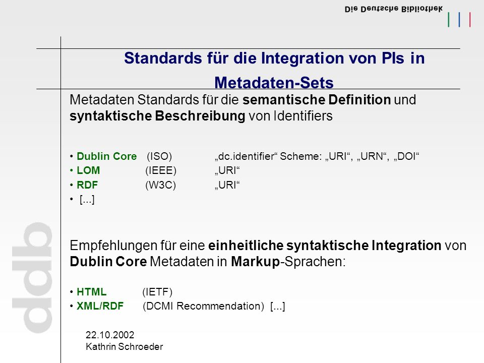 22.10.2002 Kathrin Schroeder Standards für die Integration von PIs in Metadaten-Sets Metadaten Standards für die semantische Definition und syntaktisc