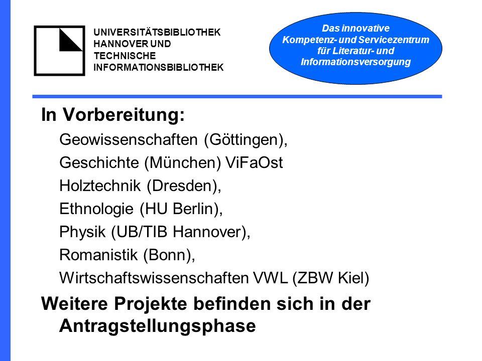 Das innovative Kompetenz- und Servicezentrum für Literatur- und Informationsversorgung UNIVERSITÄTSBIBLIOTHEK HANNOVER UND TECHNISCHE INFORMATIONSBIBLIOTHEK In Vorbereitung: Geowissenschaften (Göttingen), Geschichte (München) ViFaOst Holztechnik (Dresden), Ethnologie (HU Berlin), Physik (UB/TIB Hannover), Romanistik (Bonn), Wirtschaftswissenschaften VWL (ZBW Kiel) Weitere Projekte befinden sich in der Antragstellungsphase