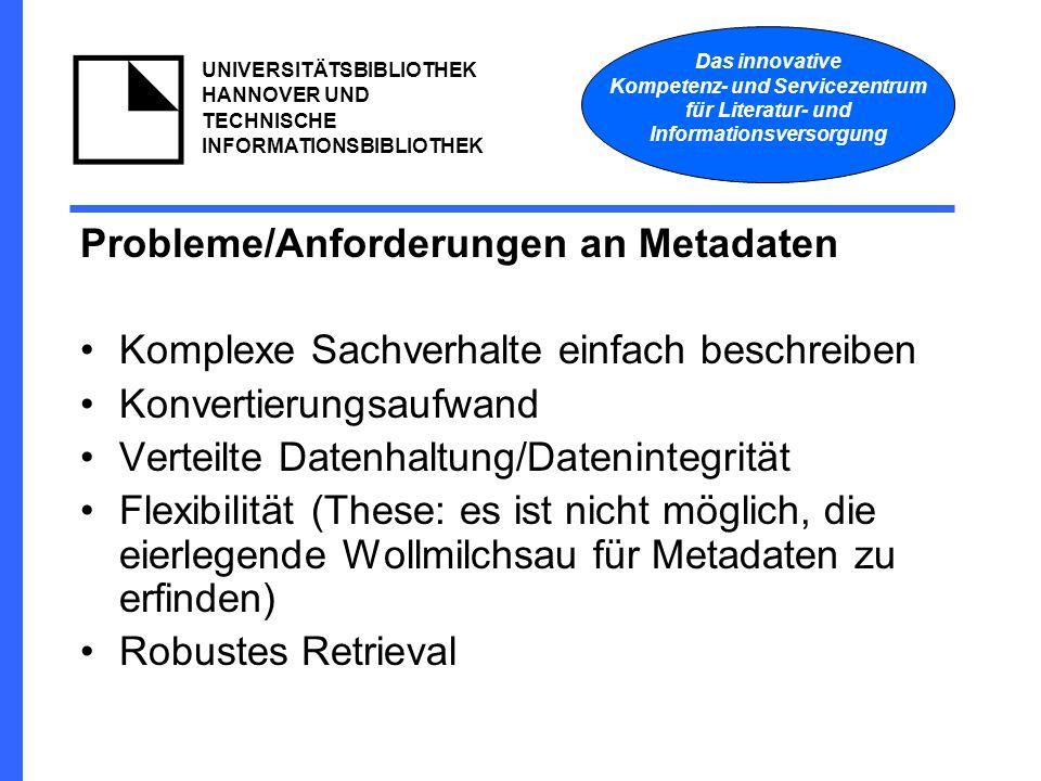 Das innovative Kompetenz- und Servicezentrum für Literatur- und Informationsversorgung UNIVERSITÄTSBIBLIOTHEK HANNOVER UND TECHNISCHE INFORMATIONSBIBLIOTHEK Probleme/Anforderungen an Metadaten Komplexe Sachverhalte einfach beschreiben Konvertierungsaufwand Verteilte Datenhaltung/Datenintegrität Flexibilität (These: es ist nicht möglich, die eierlegende Wollmilchsau für Metadaten zu erfinden) Robustes Retrieval