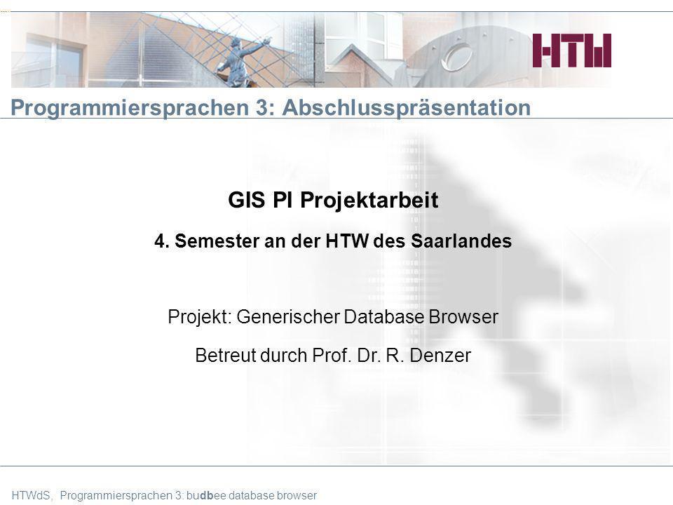 HTWdS, Programmiersprachen 3: budbee database browser22 Agenda Projektziele Vorgehensweise im Projekt Requirements Specification Überblick über die Architektur GUI Features Live-Demo Schlussworte