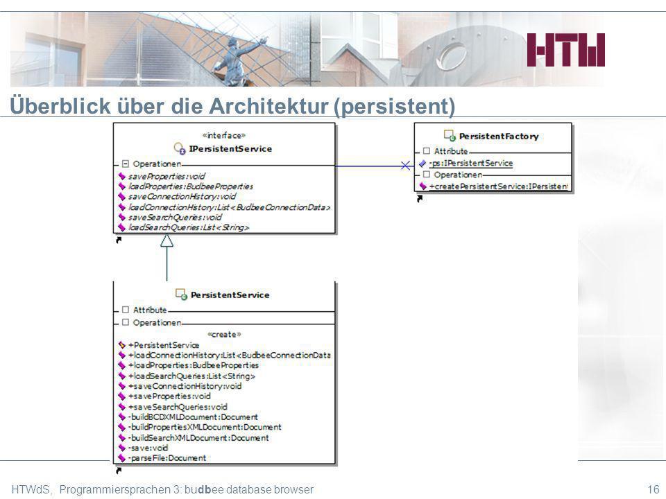 Überblick über die Architektur (persistent) HTWdS, Programmiersprachen 3: budbee database browser16