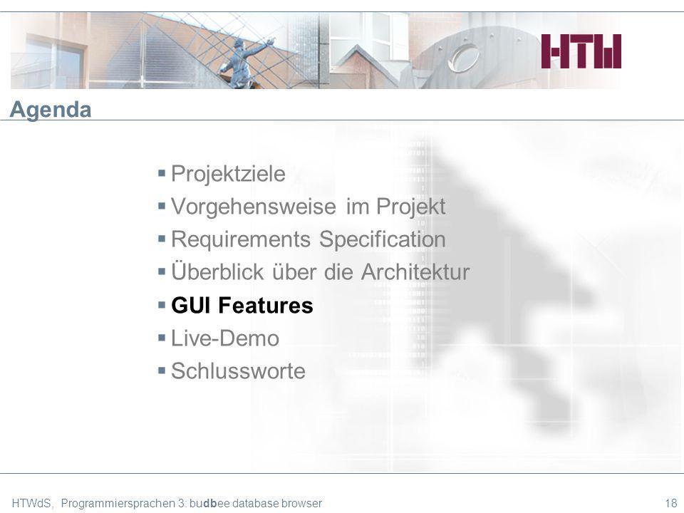 HTWdS, Programmiersprachen 3: budbee database browser18 Agenda Projektziele Vorgehensweise im Projekt Requirements Specification Überblick über die Architektur GUI Features Live-Demo Schlussworte