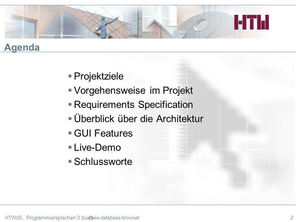 HTWdS, Programmiersprachen 3: budbee database browser23 Agenda Projektziele Vorgehensweise im Projekt Requirements Specification Überblick über die Architektur GUI Features Live-Demo Schlussworte