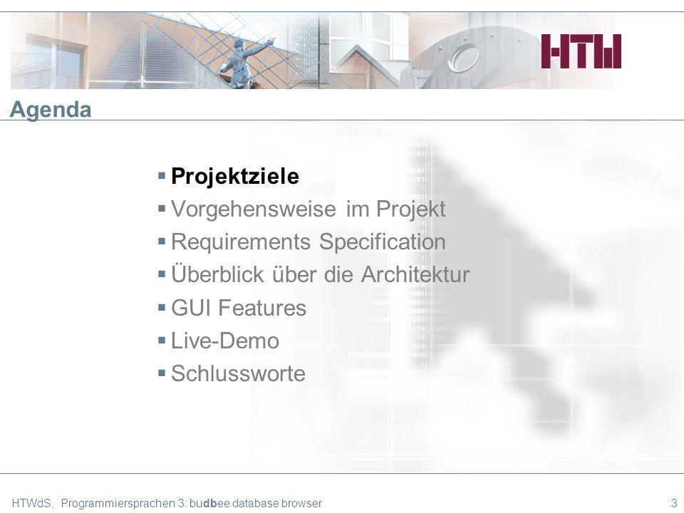 HTWdS, Programmiersprachen 3: budbee database browser3 Agenda Projektziele Vorgehensweise im Projekt Requirements Specification Überblick über die Architektur GUI Features Live-Demo Schlussworte