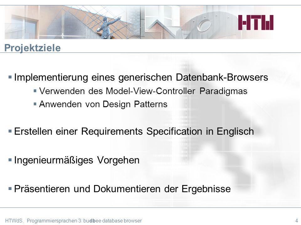Überblick über die Architektur (dbaccess) HTWdS, Programmiersprachen 3: budbee database browser15