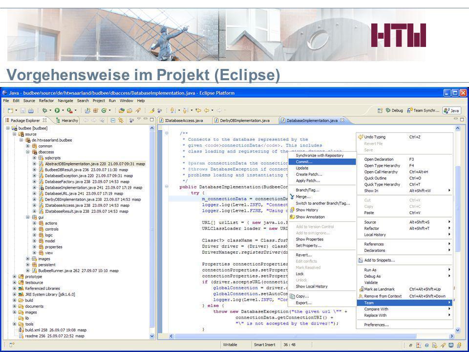 Vorgehensweise im Projekt (Eclipse) HTWdS, BPM/TRM Projekt 20078