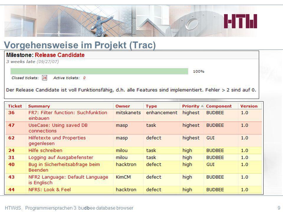Vorgehensweise im Projekt (Trac) HTWdS, Programmiersprachen 3: budbee database browser9