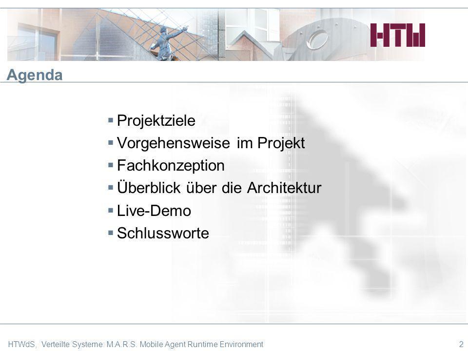 2 Agenda Projektziele Vorgehensweise im Projekt Fachkonzeption Überblick über die Architektur Live-Demo Schlussworte HTWdS, Verteilte Systeme: M.A.R.S