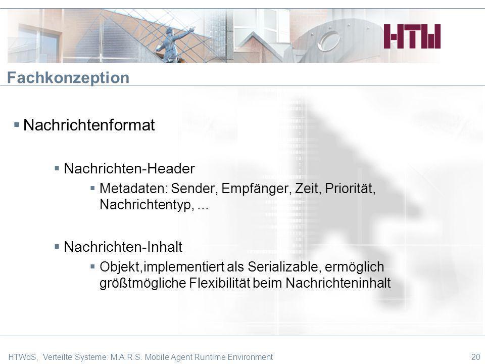 Fachkonzeption Nachrichtenformat Nachrichten-Header Metadaten: Sender, Empfänger, Zeit, Priorität, Nachrichtentyp,... Nachrichten-Inhalt Objekt,implem