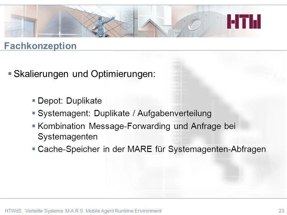 Fachkonzeption Skalierungen und Optimierungen: Depot: Duplikate Systemagent: Duplikate / Aufgabenverteilung Kombination Message-Forwarding und Anfrage