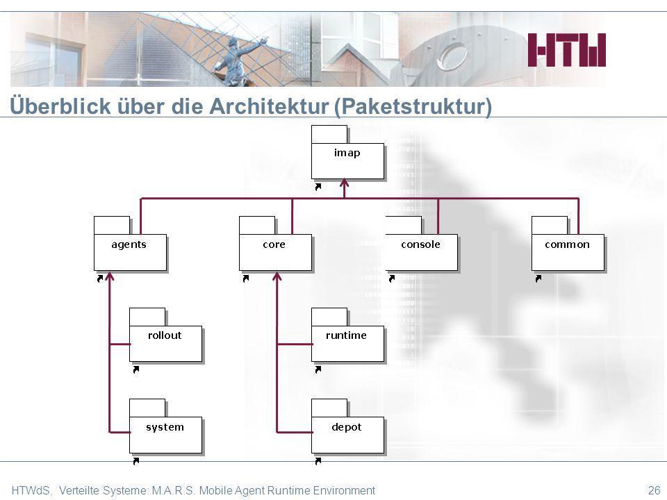 Überblick über die Architektur (Paketstruktur) 26HTWdS, Verteilte Systeme: M.A.R.S. Mobile Agent Runtime Environment