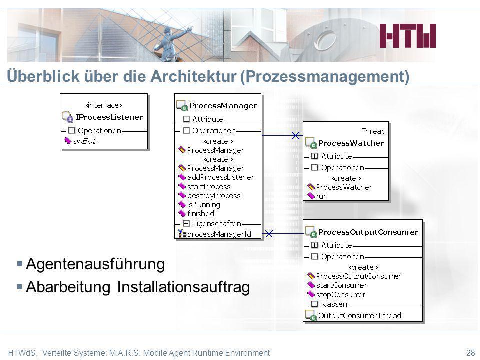 Agentenausführung Abarbeitung Installationsauftrag Überblick über die Architektur (Prozessmanagement) 28HTWdS, Verteilte Systeme: M.A.R.S. Mobile Agen