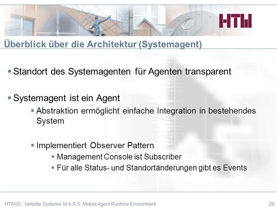 Überblick über die Architektur (Systemagent) 29HTWdS, Verteilte Systeme: M.A.R.S. Mobile Agent Runtime Environment Standort des Systemagenten für Agen
