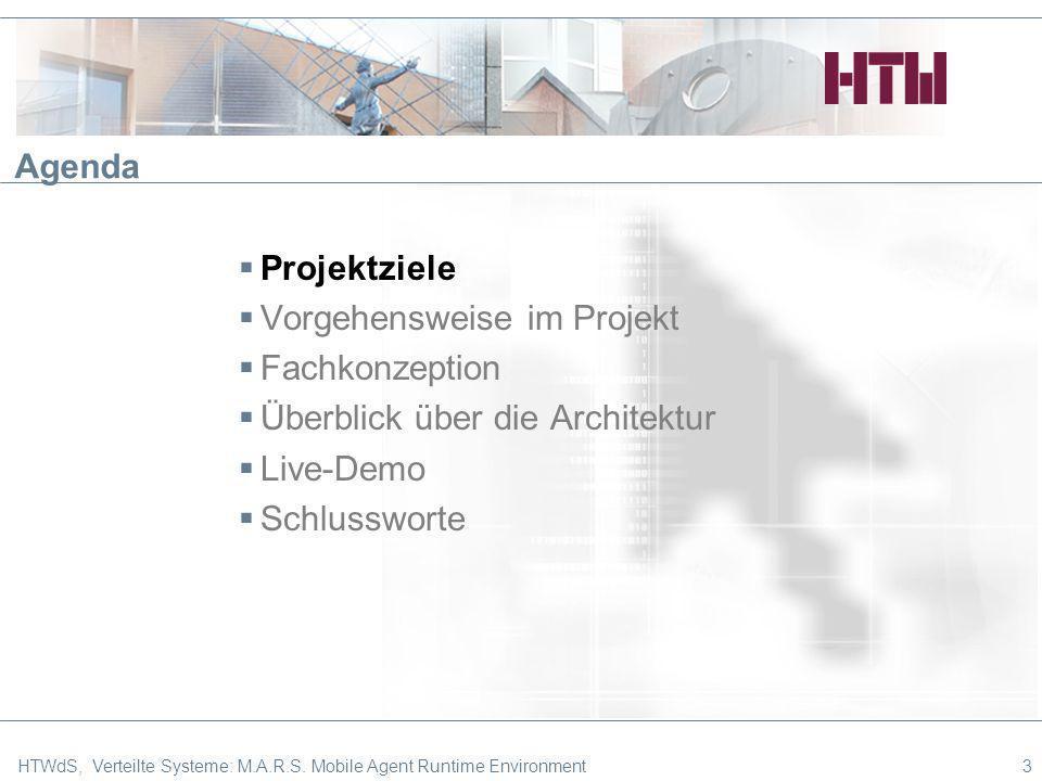 3 Agenda Projektziele Vorgehensweise im Projekt Fachkonzeption Überblick über die Architektur Live-Demo Schlussworte HTWdS, Verteilte Systeme: M.A.R.S