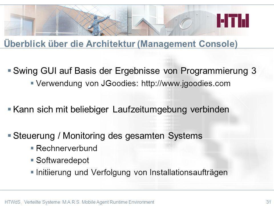 Überblick über die Architektur (Management Console) Swing GUI auf Basis der Ergebnisse von Programmierung 3 Verwendung von JGoodies: http://www.jgoodi