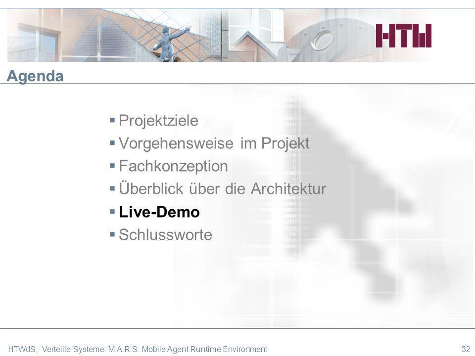 32 Agenda Projektziele Vorgehensweise im Projekt Fachkonzeption Überblick über die Architektur Live-Demo Schlussworte HTWdS, Verteilte Systeme: M.A.R.