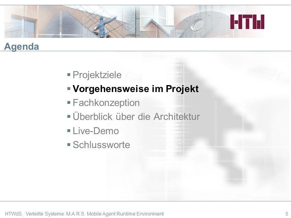 5 Agenda Projektziele Vorgehensweise im Projekt Fachkonzeption Überblick über die Architektur Live-Demo Schlussworte HTWdS, Verteilte Systeme: M.A.R.S