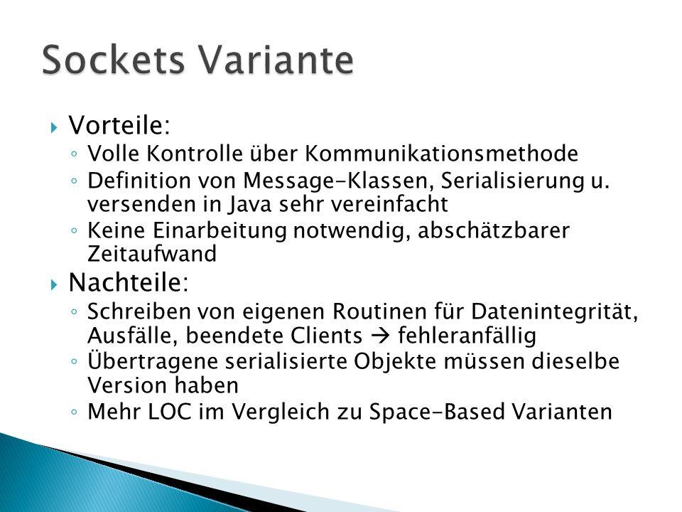 Vorteile: Volle Kontrolle über Kommunikationsmethode Definition von Message-Klassen, Serialisierung u. versenden in Java sehr vereinfacht Keine Einarb
