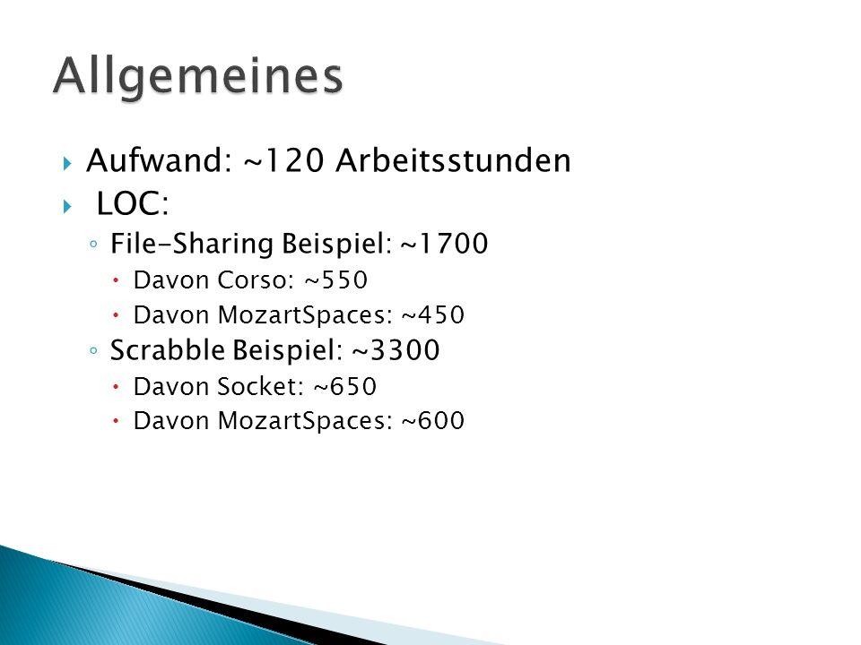 Aufwand: ~120 Arbeitsstunden LOC: File-Sharing Beispiel: ~1700 Davon Corso: ~550 Davon MozartSpaces: ~450 Scrabble Beispiel: ~3300 Davon Socket: ~650