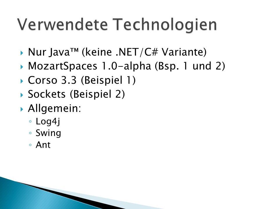 Nur Java (keine.NET/C# Variante) MozartSpaces 1.0-alpha (Bsp. 1 und 2) Corso 3.3 (Beispiel 1) Sockets (Beispiel 2) Allgemein: Log4j Swing Ant
