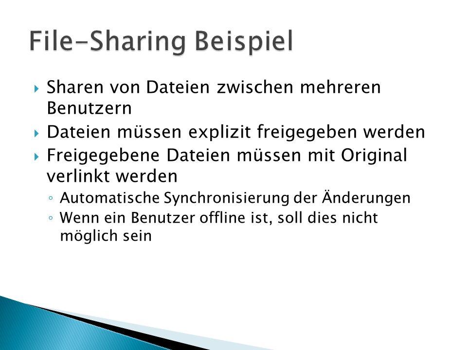 Sharen von Dateien zwischen mehreren Benutzern Dateien müssen explizit freigegeben werden Freigegebene Dateien müssen mit Original verlinkt werden Aut