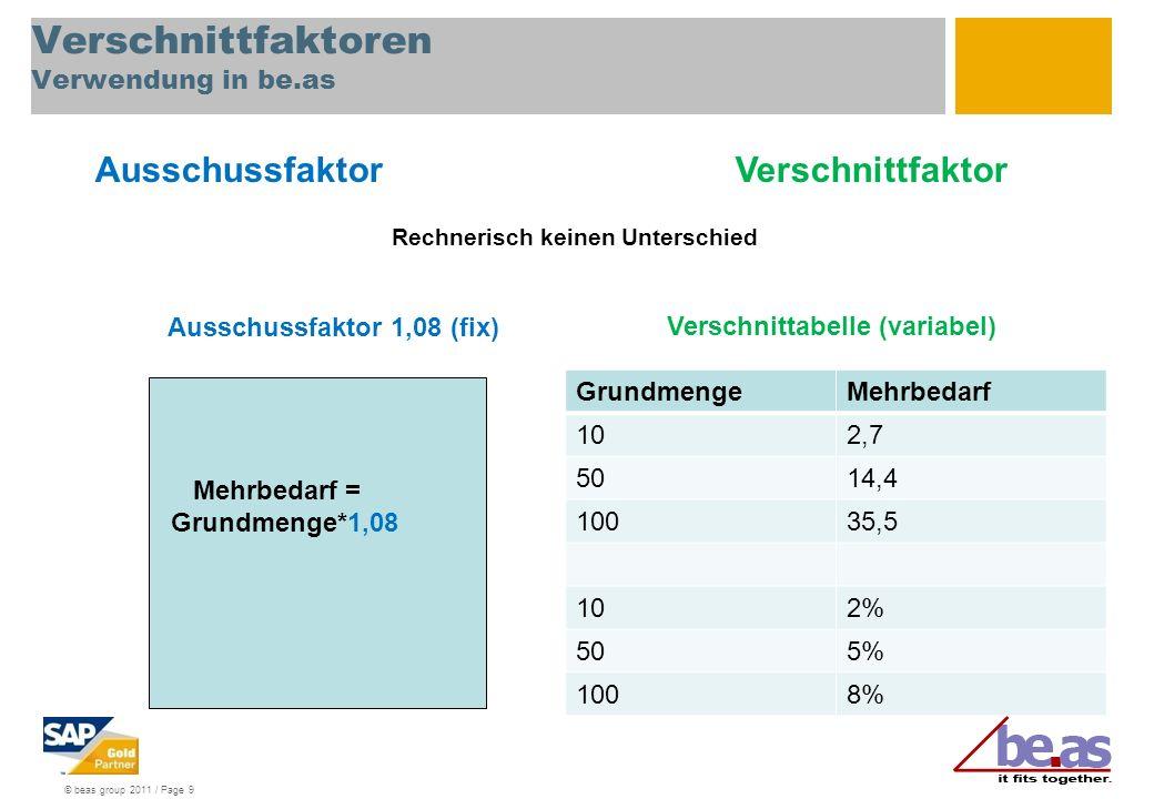 © beas group 2011 / Page 9 Verschnittfaktoren Verwendung in be.as GrundmengeMehrbedarf 102,7 5014,4 10035,5 102% 505% 1008% Mehrbedarf = Grundmenge*1,