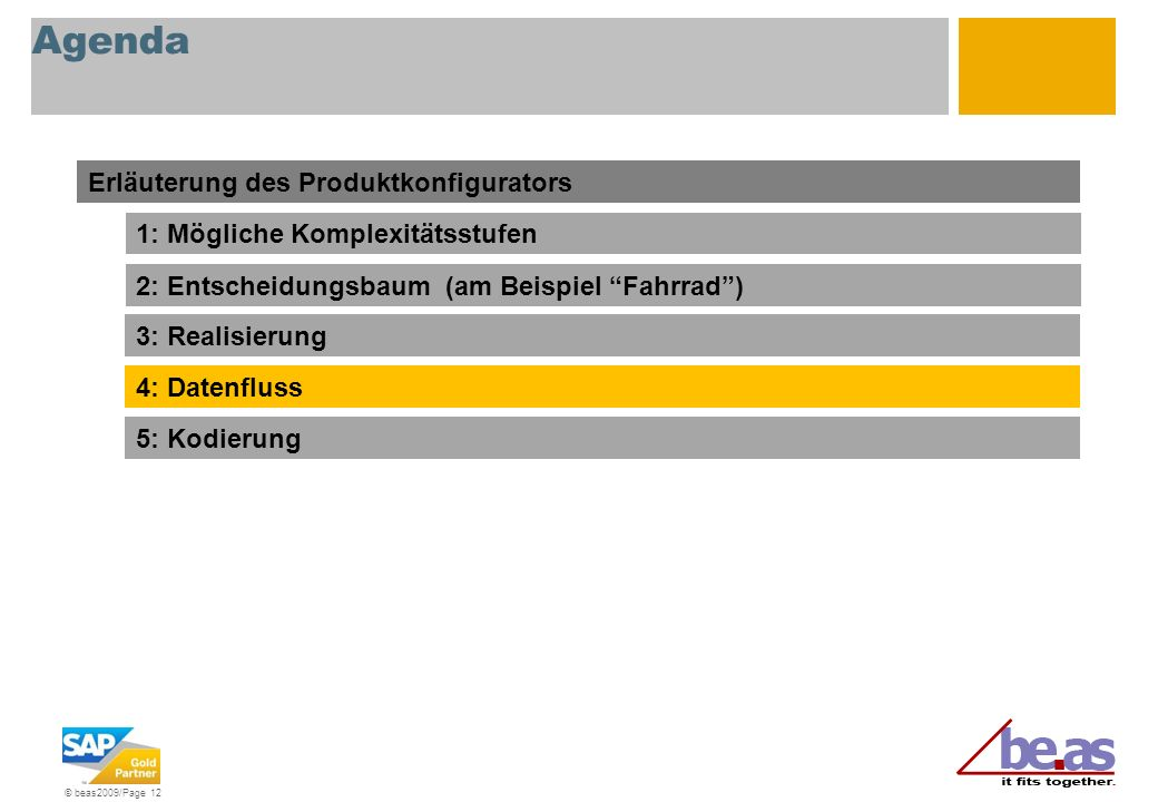 © beas2009/Page 12 Agenda Erläuterung des Produktkonfigurators 1: Mögliche Komplexitätsstufen 2: Entscheidungsbaum (am Beispiel Fahrrad) 3: Realisieru